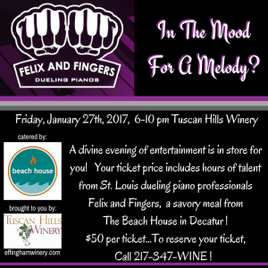 dueling pianos event at Tuscan Hills Winery